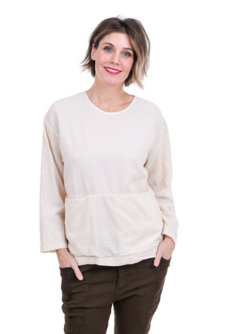 Uzi NYC Textured Cotton Pocket Blouse, Cream