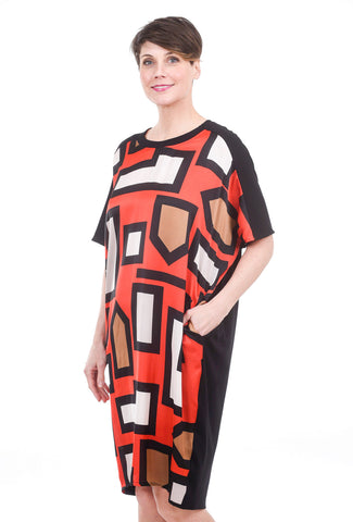 Bika Doris Dress, Red Geo