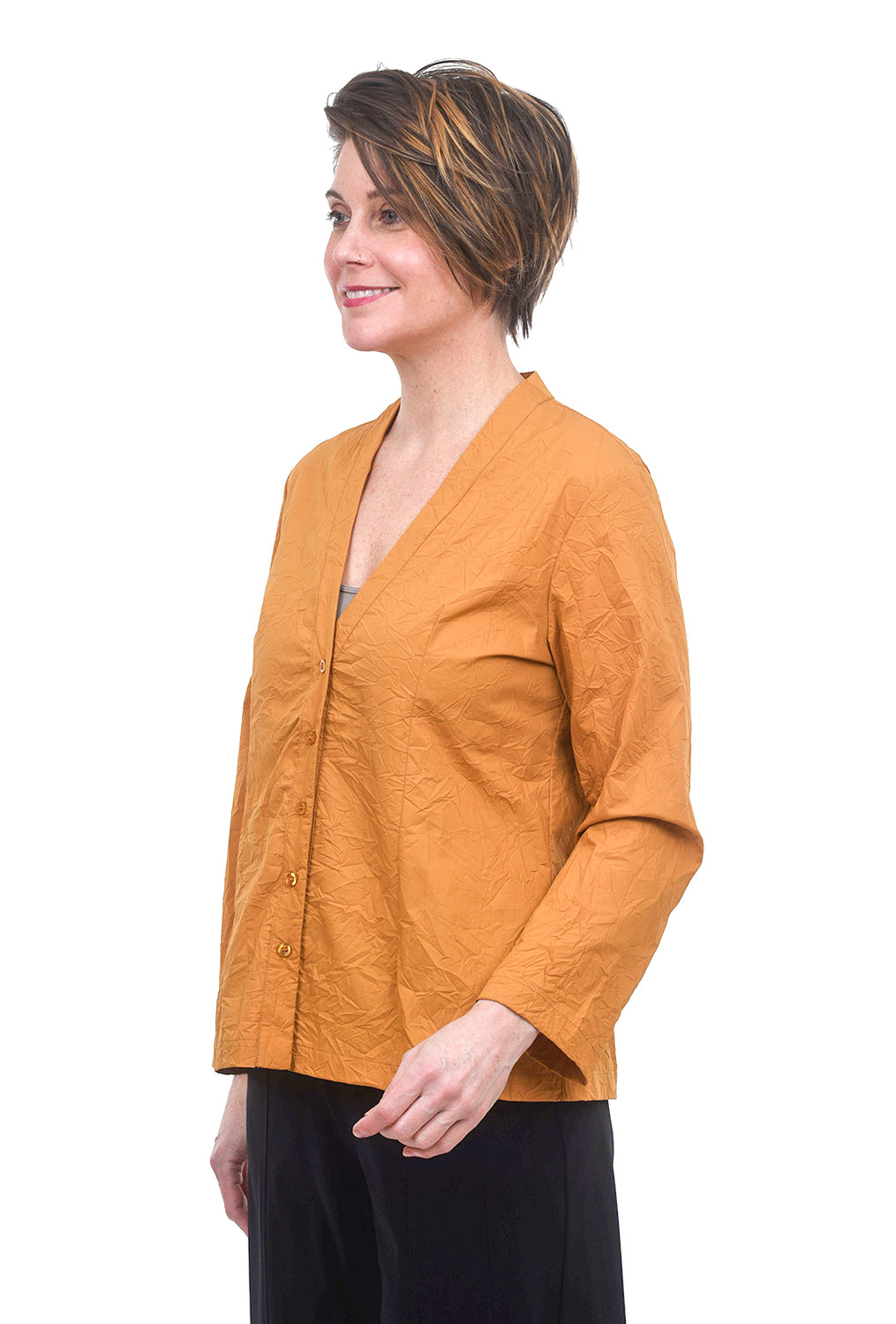 Baci Crinkled Button-Up Shirt, Mustard