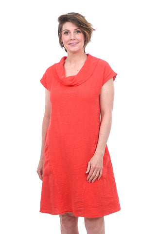 Fenini Linen Cowl Dress, Tangerine
