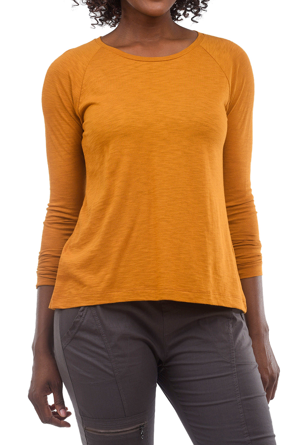 Lilla P L/S Pleat-Back Top, Curry