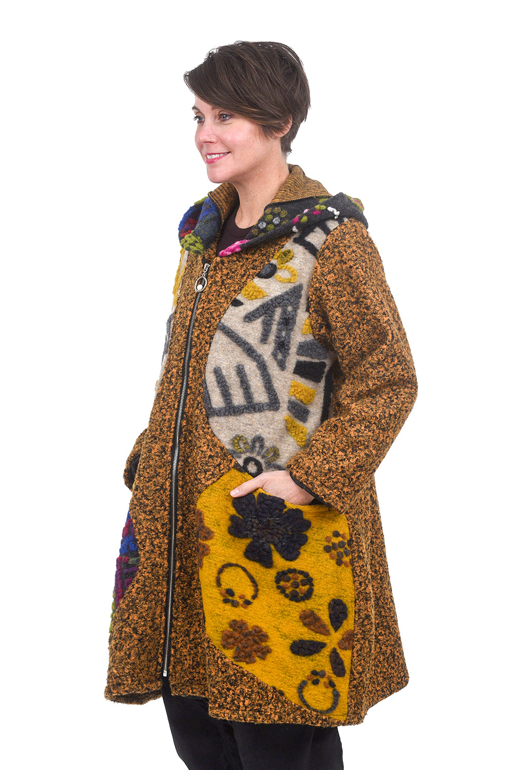 Transparente Clothing Whimsy Wool Coat, Yellow Mix