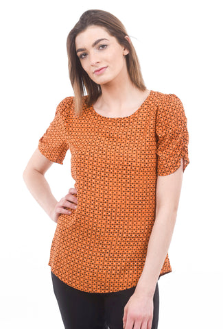 Soya Gigi Print Blouse, Dark Orange