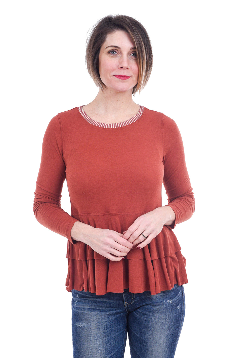 Hem & Thread Double Peplum Top, Rust