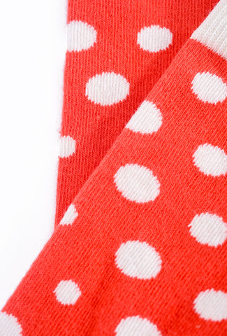Little River Sock Mill Lucy Diagonal Dot Crew Sock, Poppy