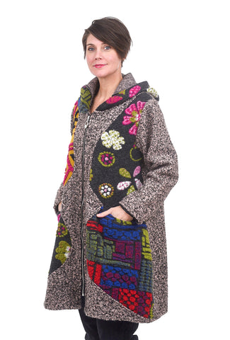 Transparente Clothing Whimsy Wool Coat, Brown/Pink Mix