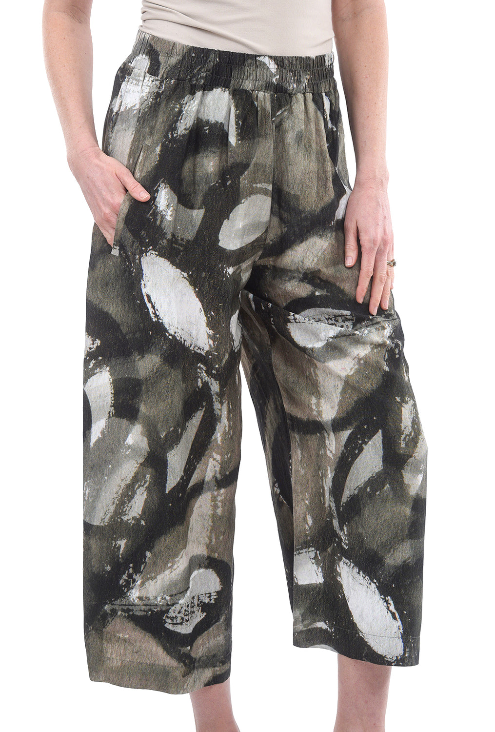 Crea Concept Abstract Woven Trouser, Olive