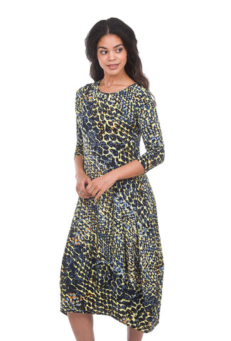 Comfy USA Kati Print Dress, Blue Multi Abstract