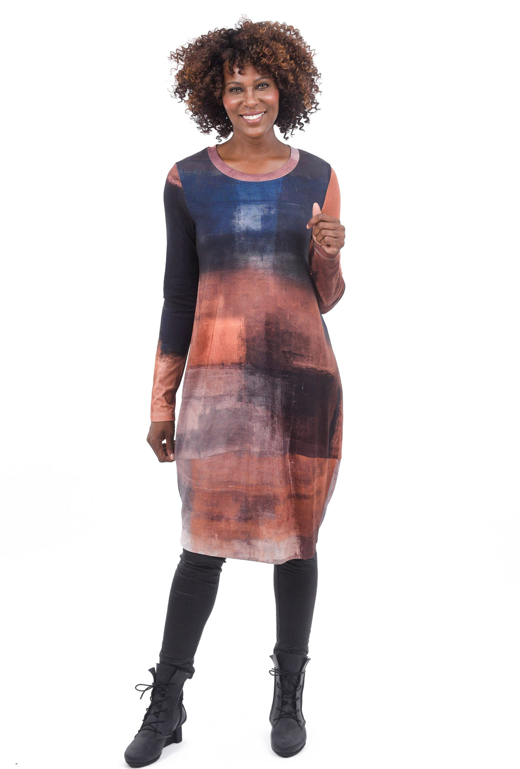 Crea Concept Knit Print Dress, Rust/Navy