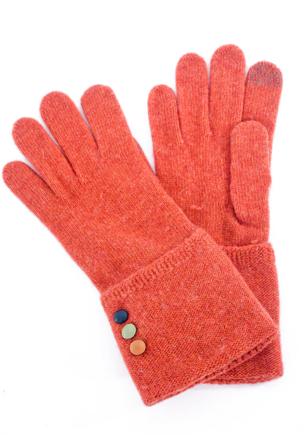 Santacana Madrid Button-Cuff Knit Gloves, Orange One Size Orange