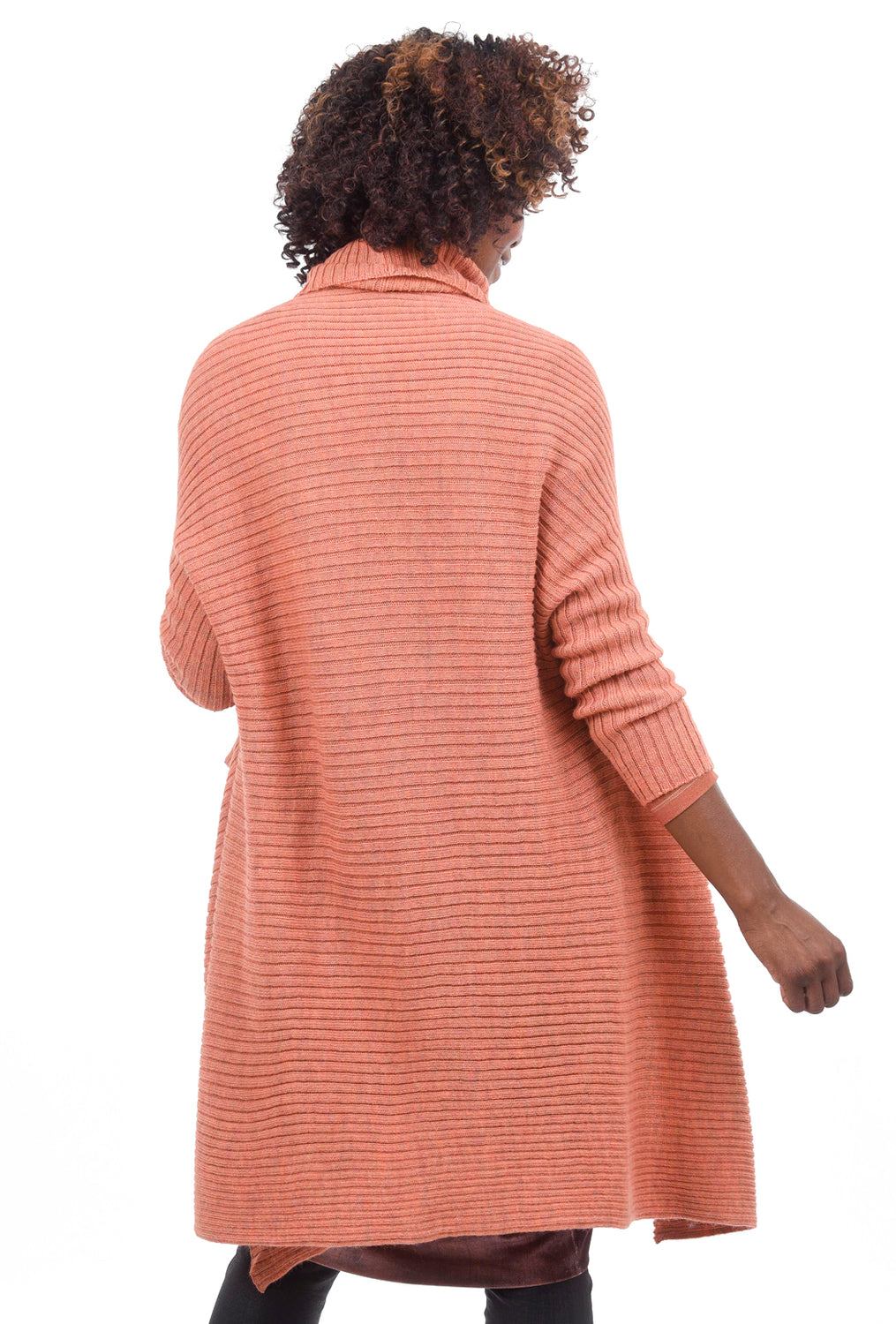 Crea Concept High-Low Funnel Sweater, Salmon