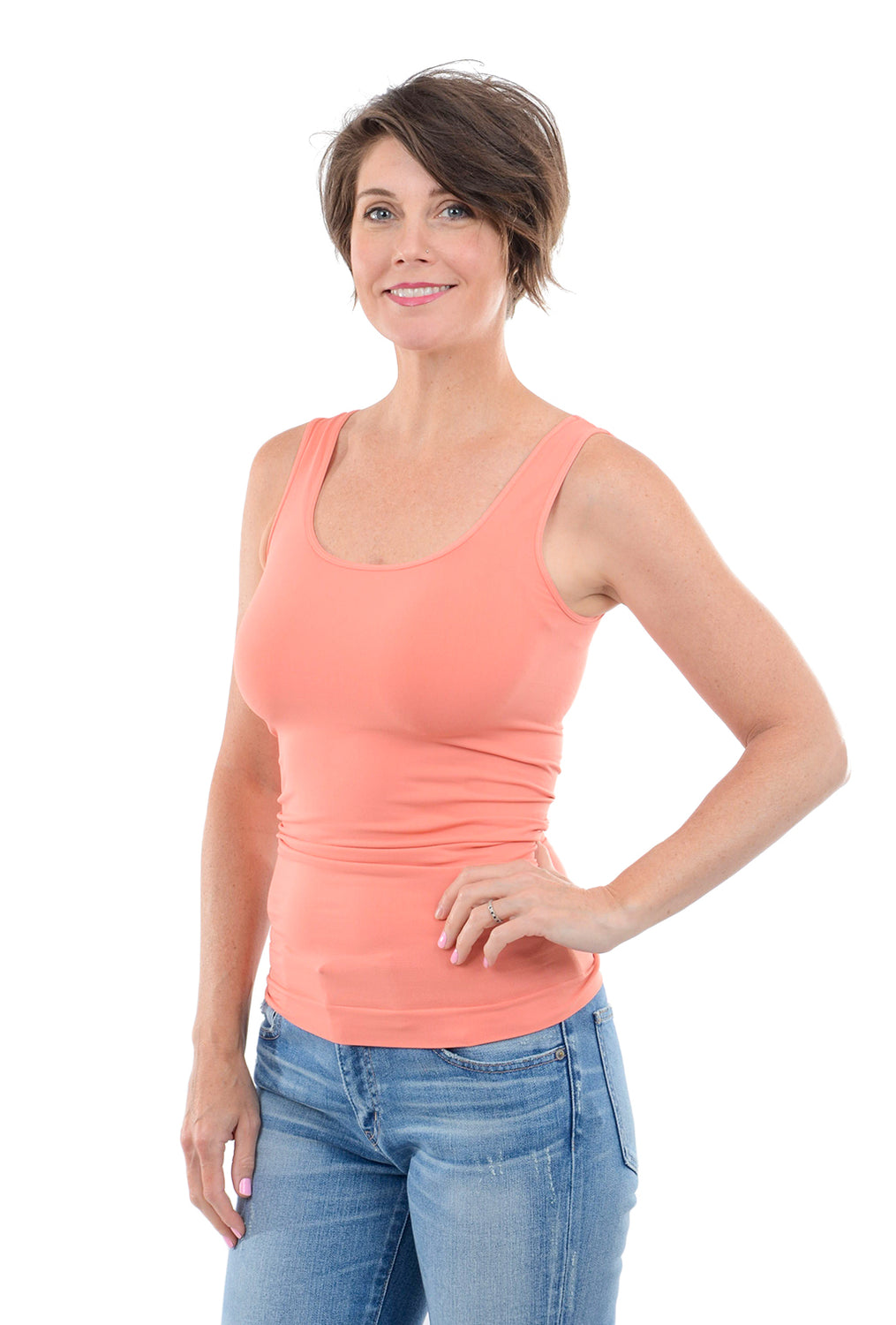 Tees by Tina Smooth Tank, Salmon One Size