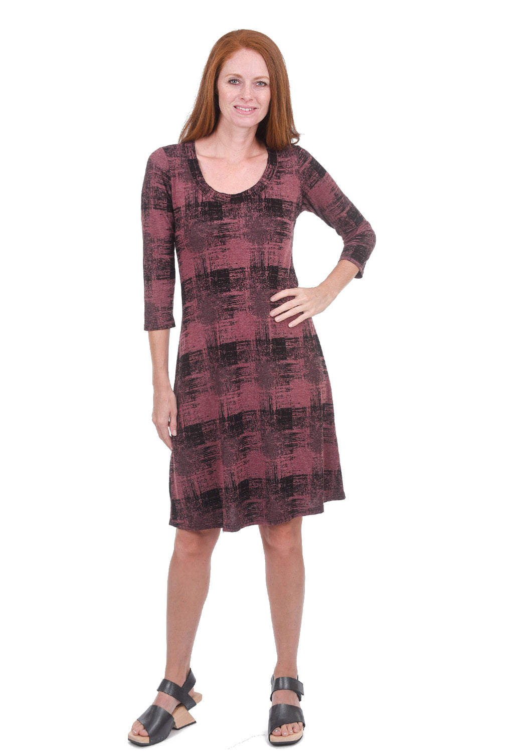 Cut Loose Pixel Check Scoop-Neck Dress, Cognac