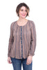 Mystree Pintuck Button-Down Shirt, Taupe