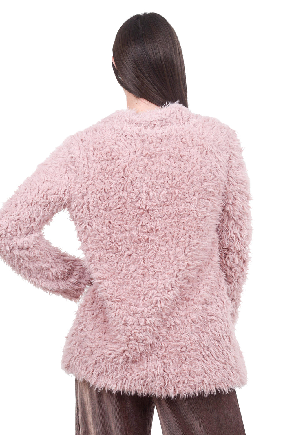 Mystree Faux Fur Midi Jacket, Blush