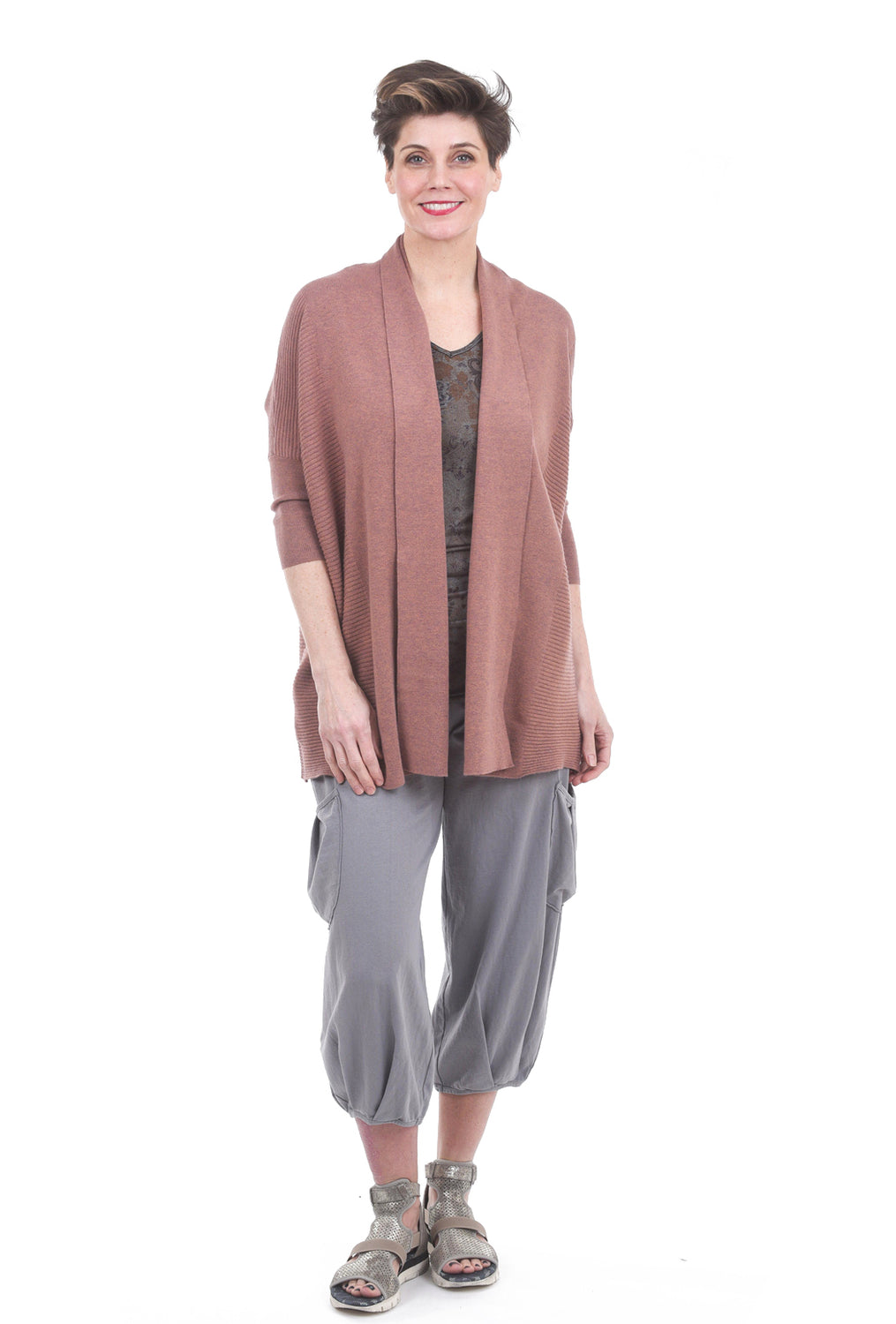 M. Rena Reversible V/Scoop Print Tunic, Taupe One Size Taupe