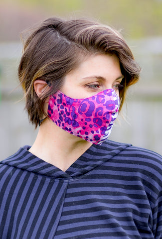 Color Me Cotton CMC Print Face Mask, Pink Cheetah