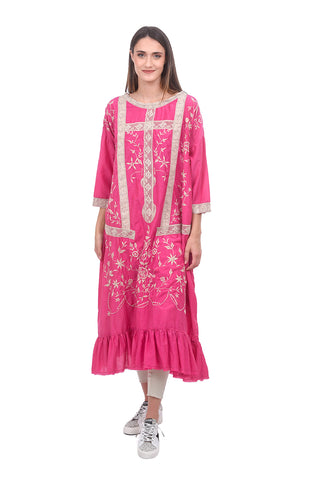 Magnolia Pearl Cotton-Silk Anna Roza Dress, Magenta