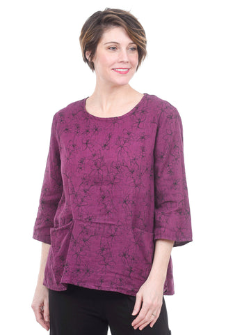 Cut Loose Linen Floral Pullover, Vino