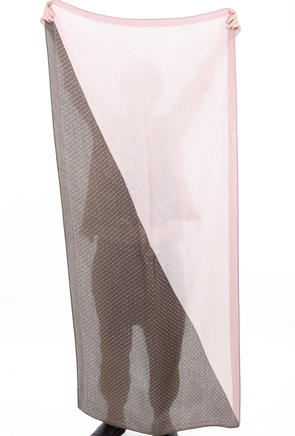 Pretty Persuasions PP Rectangle Scarf, Taupe/Pink One Size Pink