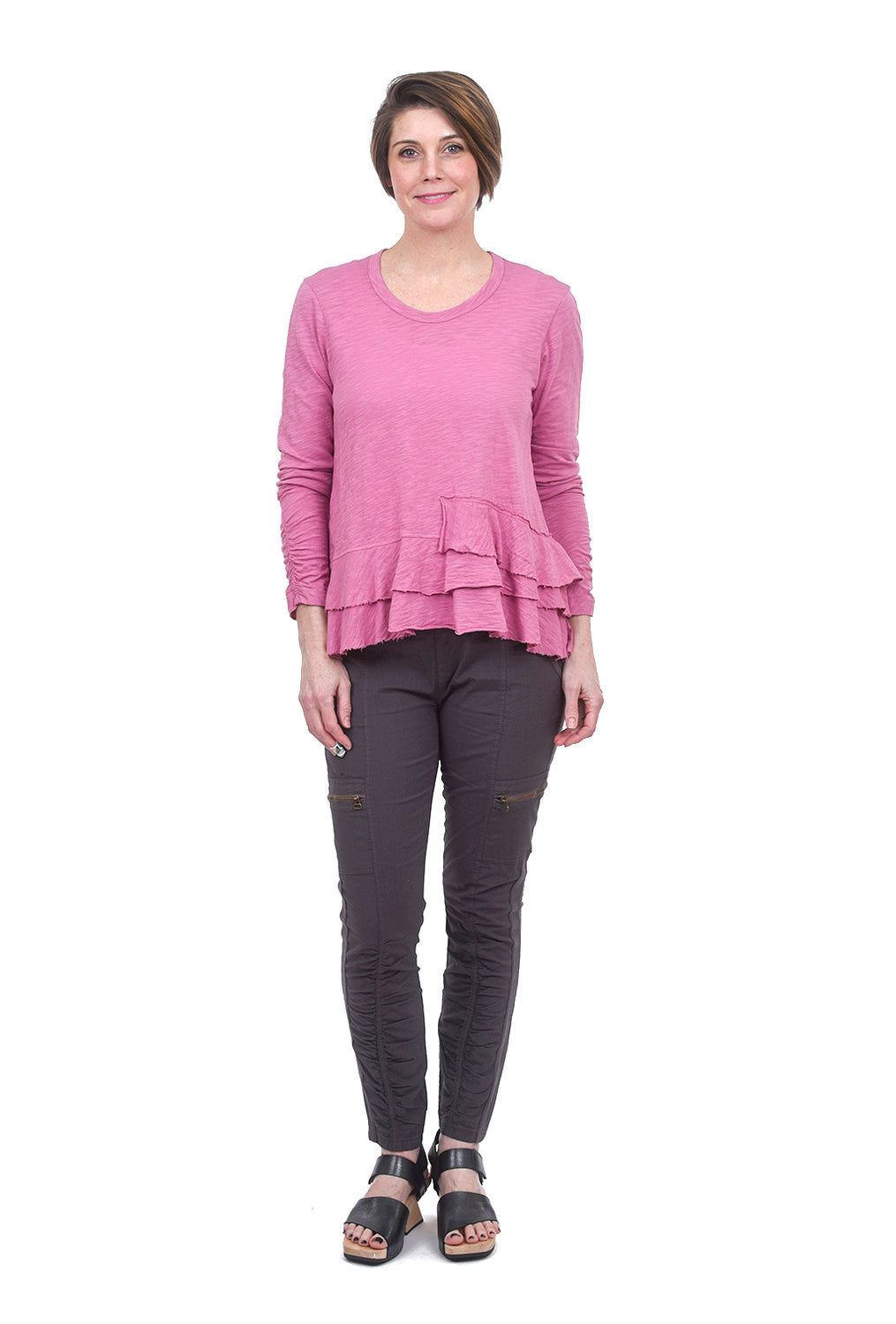 Wilt Ruched Sleeve Layered Tee, Azalea Pink