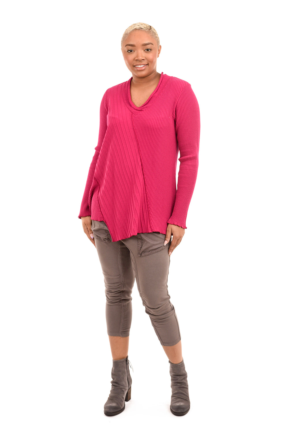 Fenini V-Neck Patch Top, Fuchsia