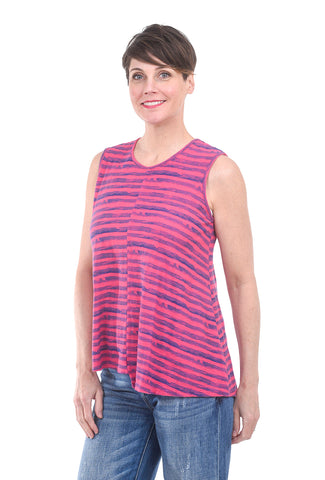 Cut Loose Brushstroke Stripe Tank, Cherry Pink Fizz