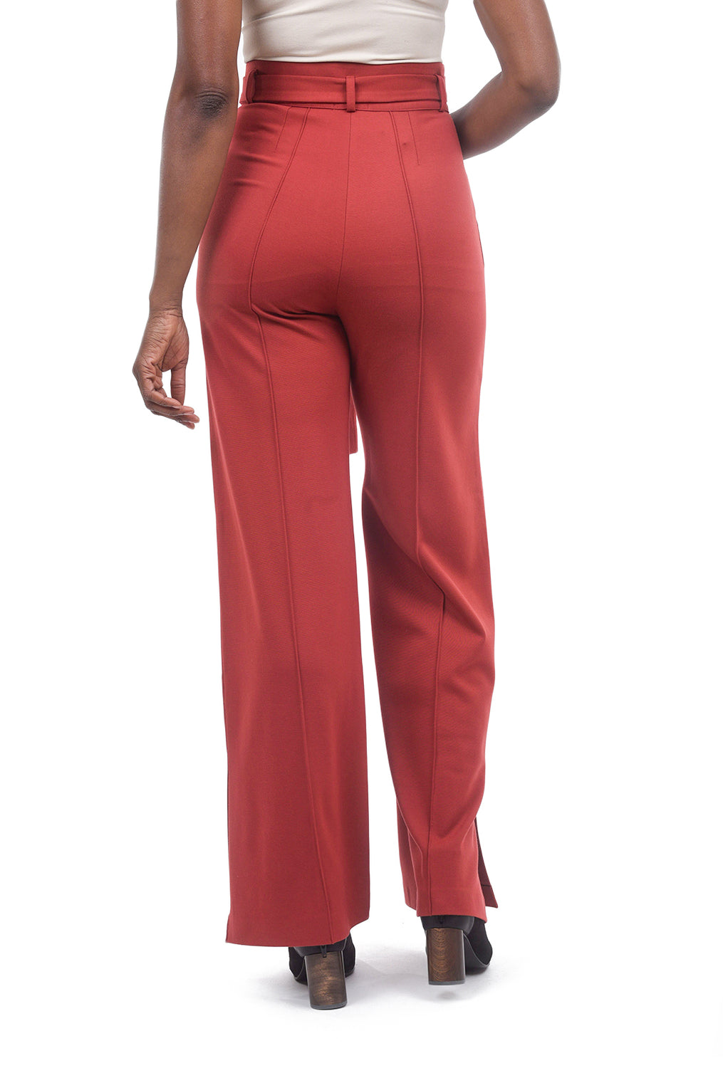 Ivko Women Belted Knit Trousers, Sundried Tomato