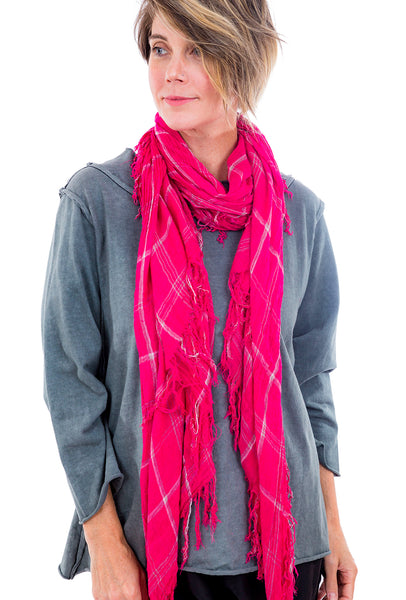 Blue Pacific Tissue Plaid Scarf, Hot Pink Pink