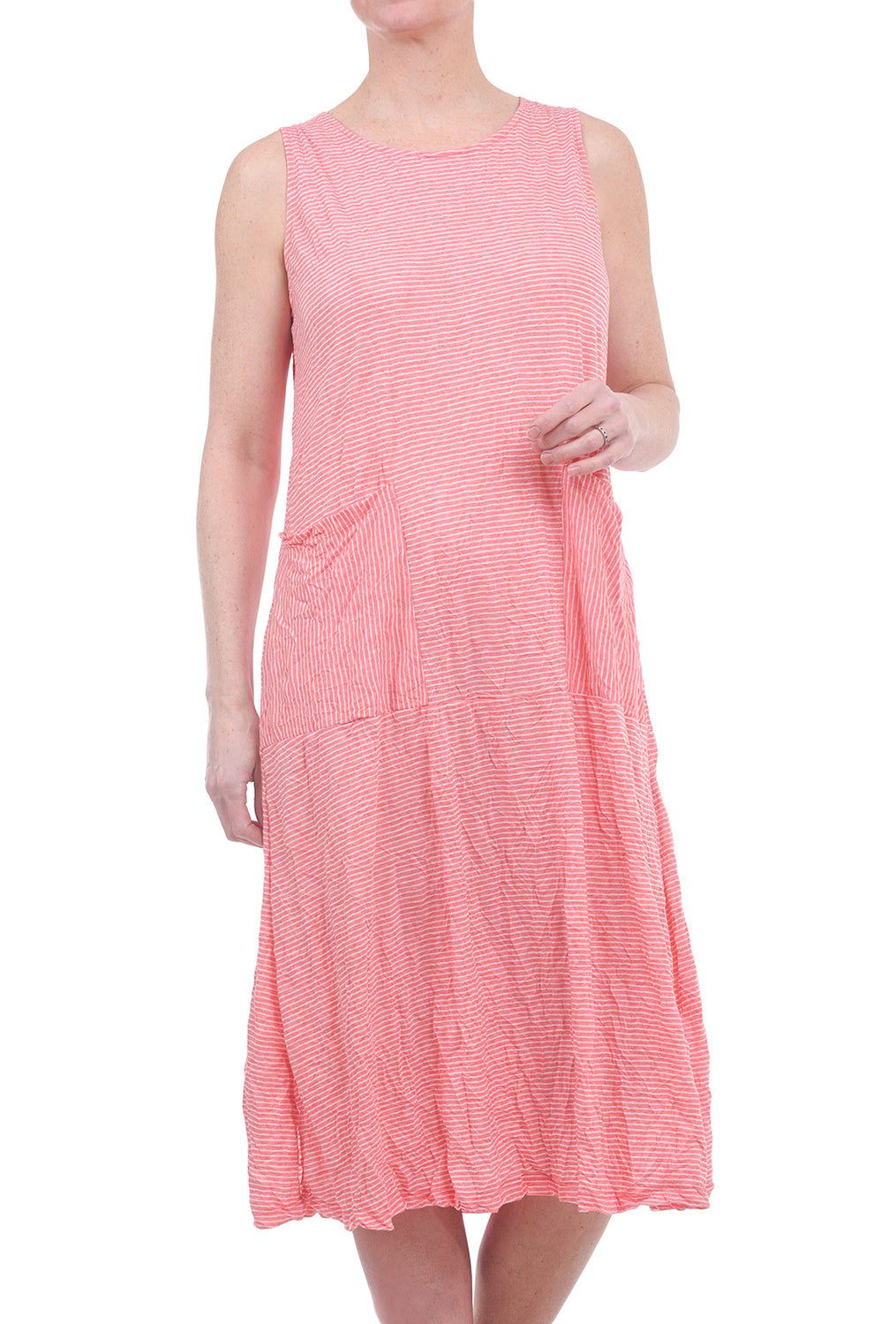 Comfy USA Crinkle Rachel Dress, Coral Stripe