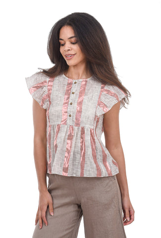 The Korner Sparkle Stripe Blouse, Pink