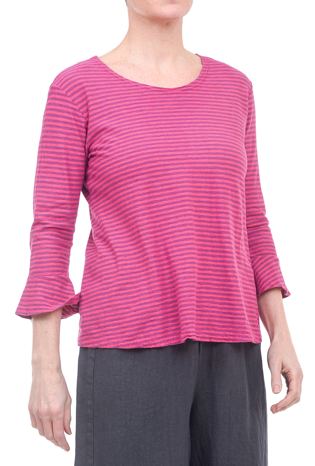 Cut Loose Linen Stripe Flare Tee, Cherry Fizz
