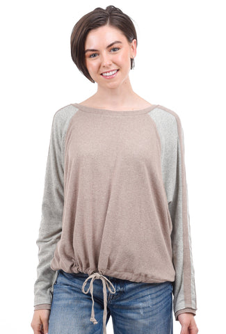 Hem & Thread Colorblock Drawstring Top, Taupe