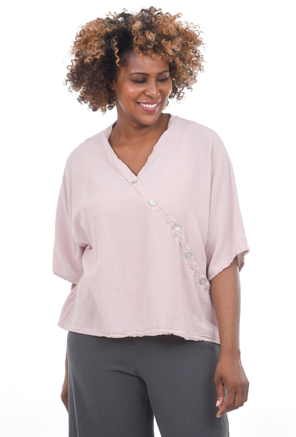 Oh My Gauze Button Flamingo Top