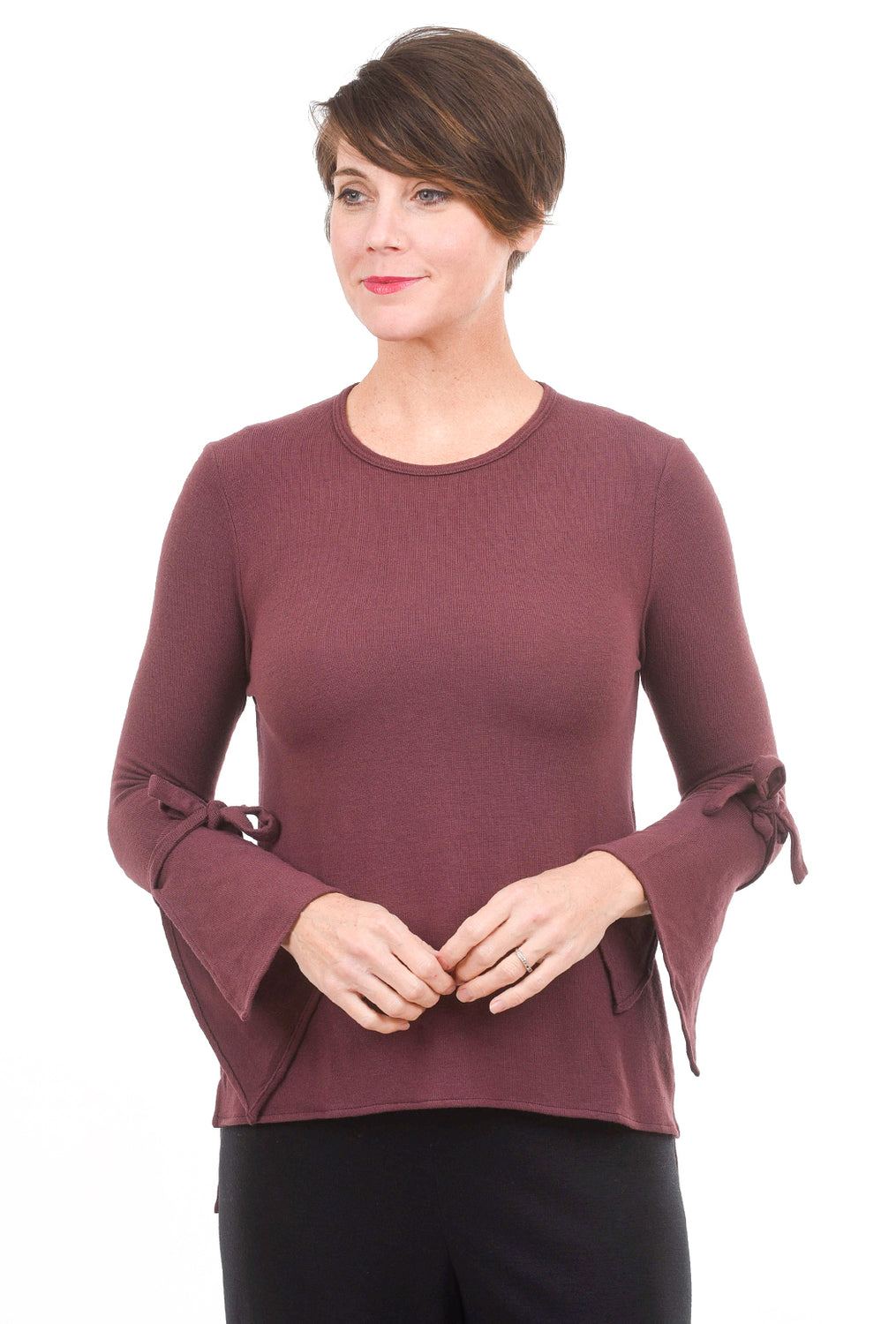 Stark x Tie-Sleeve Top, Chocolate
