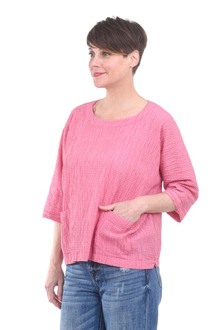 Cut Loose Gingham Boxy Pocket Top, Cherry Pink Fizz One Size Pink