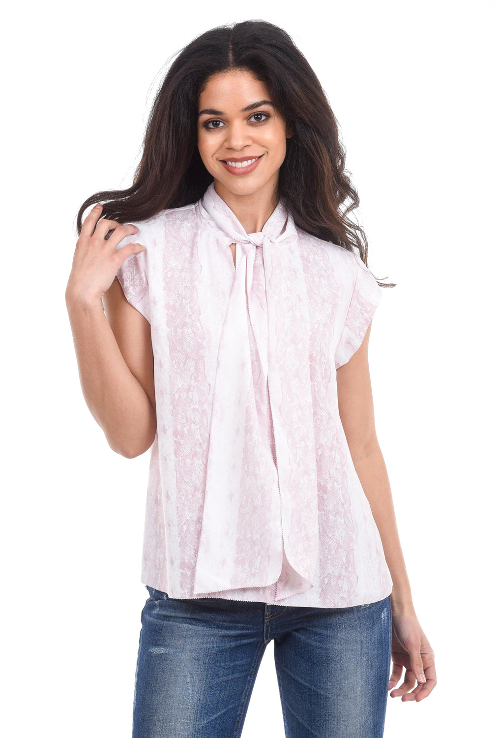 Current Air S/L Scarf-Tie Print Blouse, Pink