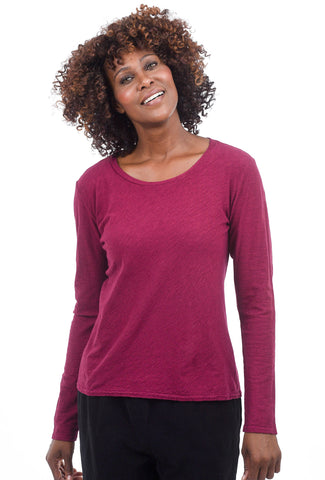 Cut Loose L/S Bias Top, Cranapple
