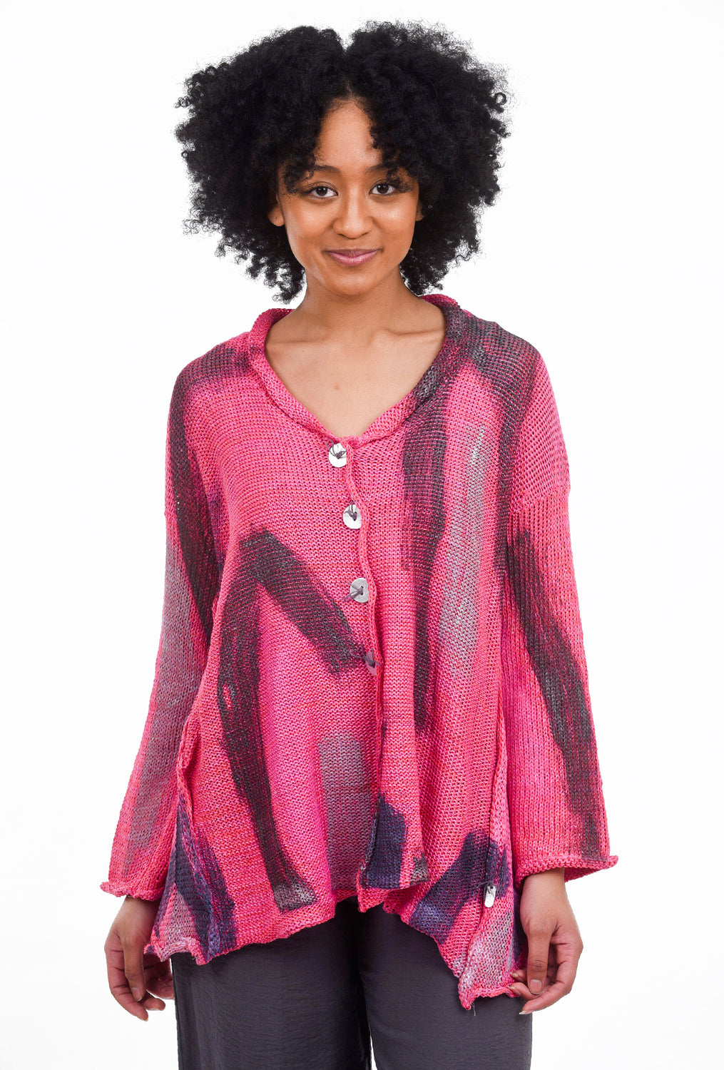 Skif International V Five-Button Cardie, Hot Pink Brush One Size Pink