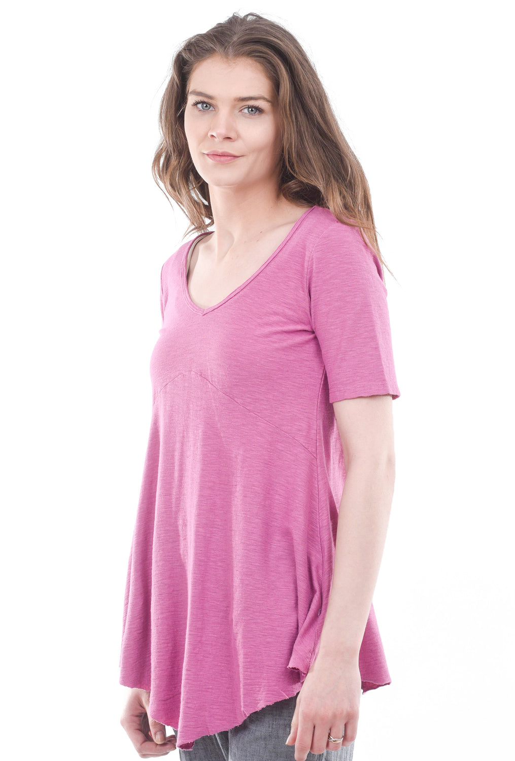 Cut Loose Elbow-Sleeve V-Neck Tee, Rosewood