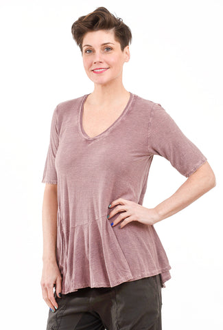 M. Rena Mineral Wash Elbow-Sleeve Tee, Oyster