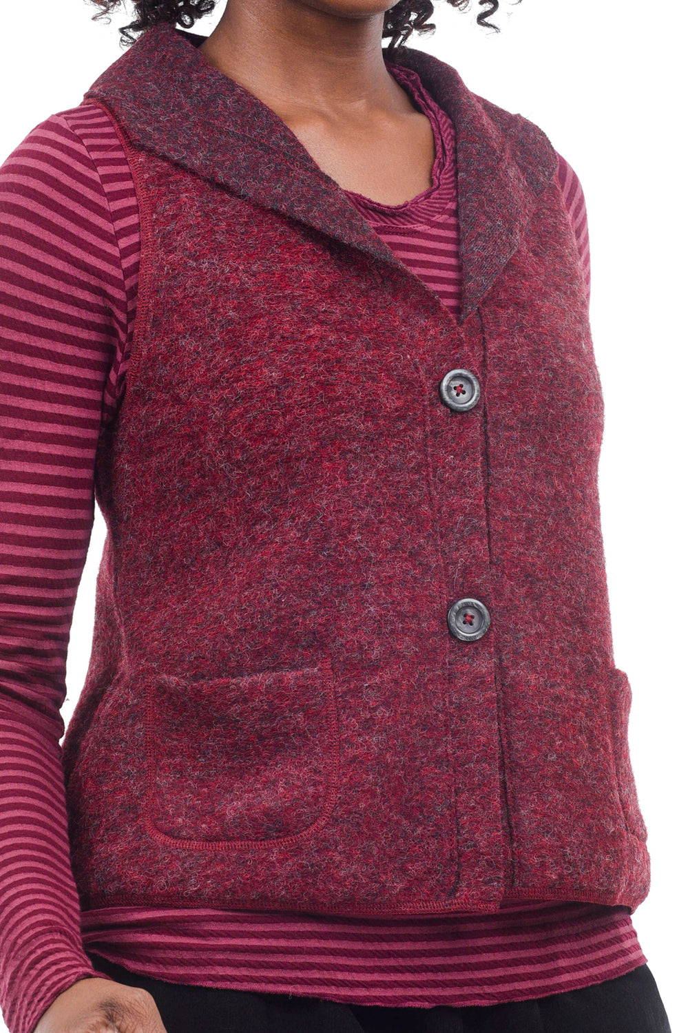 Cut Loose Boiled Wool Pocket Vest, Cranapple
