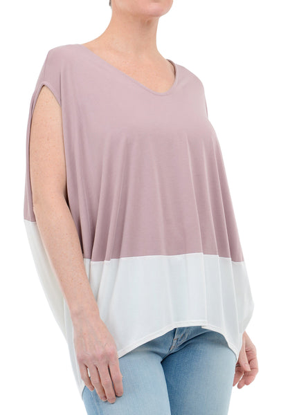 COA Flowy Color Block Top, Mauve Combo