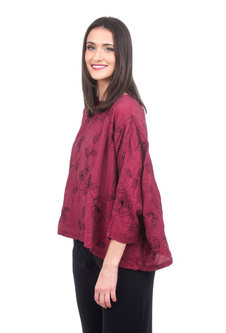 Cut Loose Embroidered Parachute Crop Top, Cranberry One Size Berry