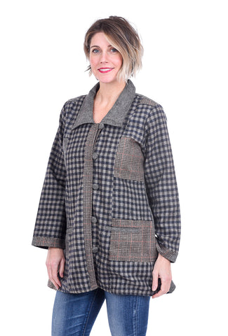 Paper Lace Plaid Mix Jacket, Tan Burlap
