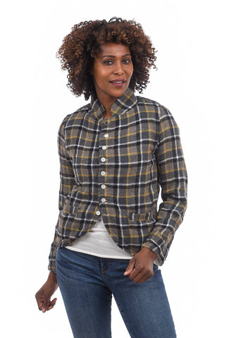CP Shades Dree Wool Plaid Jacket, Navy/Mustard
