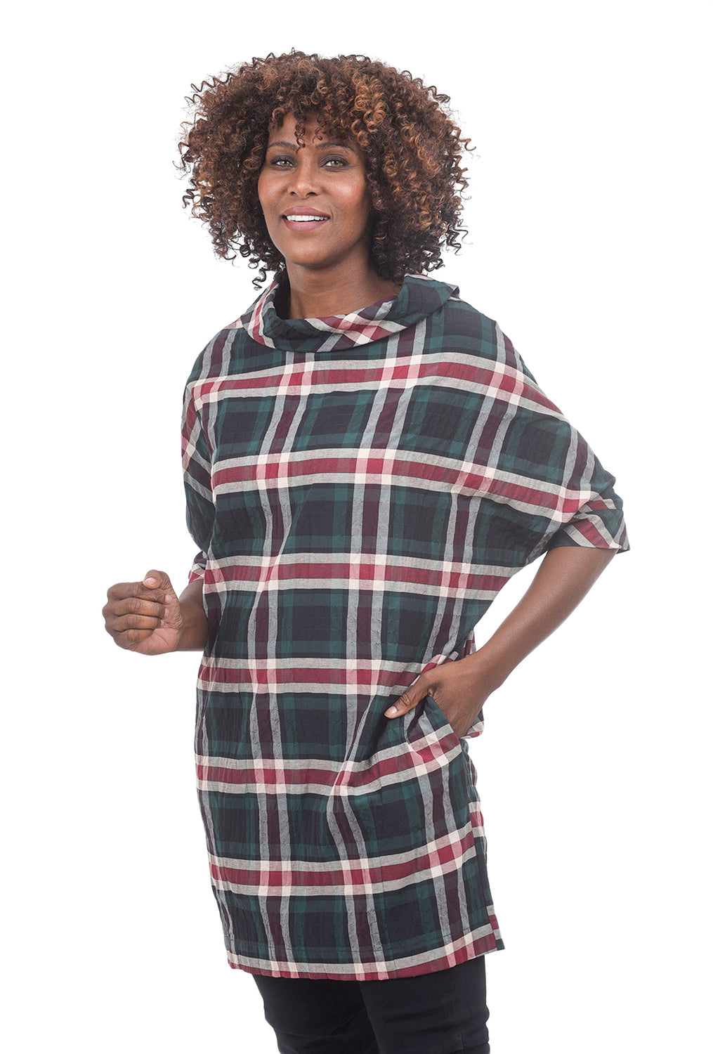 Niche Autumn Plaid Cocoon Dress, Evergreen Multi