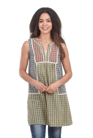The Korner Puckery Pinafore Dress, Green