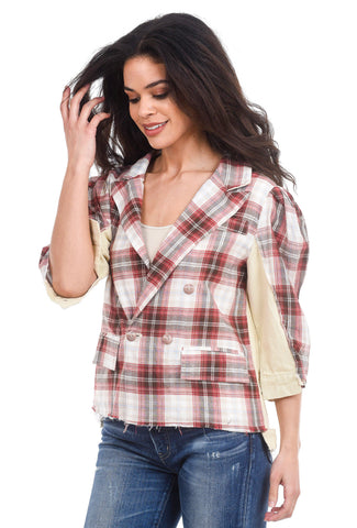 POL Clothing Crop Mixed Plaid Jacket, Butter