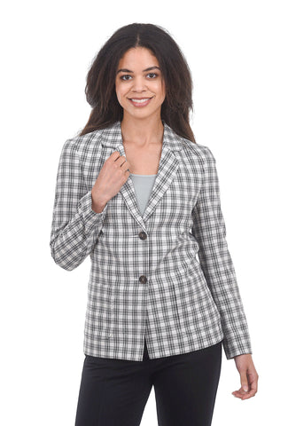 The Korner Check Blazer, White/Black